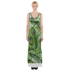 Peacock Feathers Pattern Maxi Thigh Split Dress