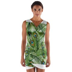 Peacock Feathers Pattern Wrap Front Bodycon Dress