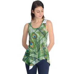 Peacock Feathers Pattern Sleeveless Tunic