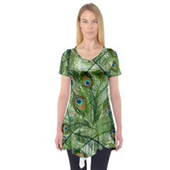 Peacock Feathers Pattern Short Sleeve Tunic