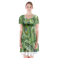 Peacock Feathers Pattern Short Sleeve V Neck Flare Dress