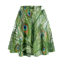 Peacock Feathers Pattern High Waist Skirt