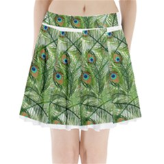 Peacock Feathers Pattern Pleated Mini Skirt