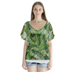 Peacock Feathers Pattern Flutter Sleeve Top