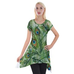 Peacock Feathers Pattern Short Sleeve Side Drop Tunic