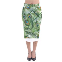 Peacock Feathers Pattern Velvet Midi Pencil Skirt