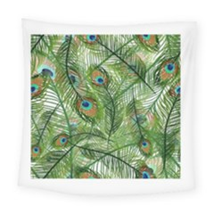 Peacock Feathers Pattern Square Tapestry (large)