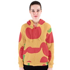 Apple Fruit Red Orange Women s Zipper Hoodie