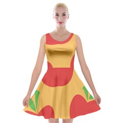 Apple Fruit Red Orange Velvet Skater Dress
