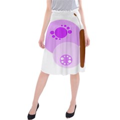 Butterfly Flower Valentine Animals Purple Brown Midi Beach Skirt