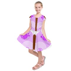 Butterfly Flower Valentine Animals Purple Brown Kids  Short Sleeve Dress