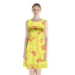 Circles Lime Pink Sleeveless Chiffon Waist Tie Dress