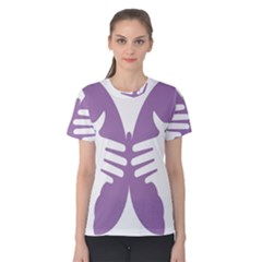 Colorful Butterfly Hand Purple Animals Women s Cotton Tee
