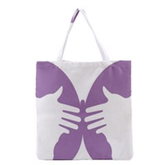 Colorful Butterfly Hand Purple Animals Grocery Tote Bag