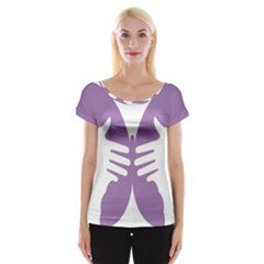 Colorful Butterfly Hand Purple Animals Women s Cap Sleeve Top