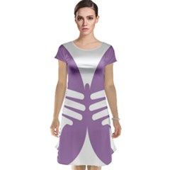 Colorful Butterfly Hand Purple Animals Cap Sleeve Nightdress