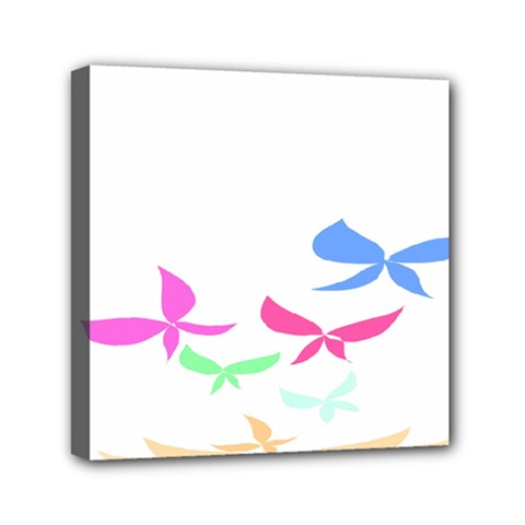 Colorful Butterfly Blue Red Pink Brown Fly Leaf Animals Mini Canvas 6  X 6