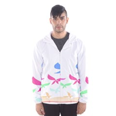 Colorful Butterfly Blue Red Pink Brown Fly Leaf Animals Hooded Wind Breaker (men)