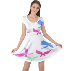 Colorful Butterfly Blue Red Pink Brown Fly Leaf Animals Cap Sleeve Dresses