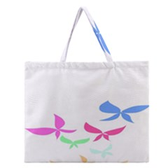 Colorful Butterfly Blue Red Pink Brown Fly Leaf Animals Zipper Large Tote Bag
