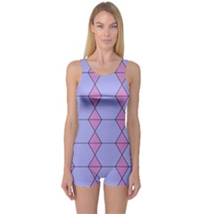 Demiregular Purple Line Triangle One Piece Boyleg Swimsuit