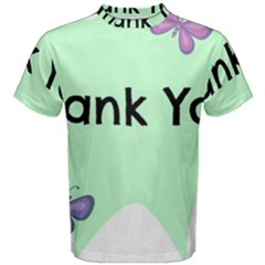 Colorful Butterfly Thank You Animals Fly White Green Men s Cotton Tee