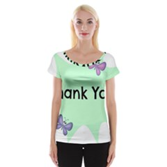Colorful Butterfly Thank You Animals Fly White Green Women s Cap Sleeve Top