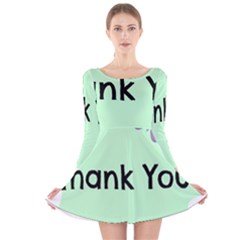 Colorful Butterfly Thank You Animals Fly White Green Long Sleeve Velvet Skater Dress