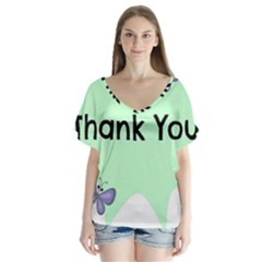 Colorful Butterfly Thank You Animals Fly White Green Flutter Sleeve Top
