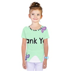 Colorful Butterfly Thank You Animals Fly White Green Kids  One Piece Tee