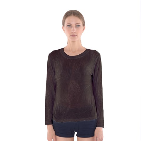 Bear Skin Animal Texture Brown Women s Long Sleeve Tee by Alisyart
