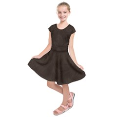Bear Skin Animal Texture Brown Kids  Short Sleeve Dress by Alisyart