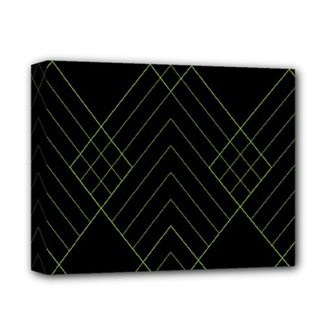 Diamond Green Triangle Line Black Chevron Wave Deluxe Canvas 14  X 11  by Alisyart