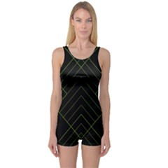 Diamond Green Triangle Line Black Chevron Wave One Piece Boyleg Swimsuit
