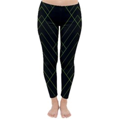 Diamond Green Triangle Line Black Chevron Wave Classic Winter Leggings