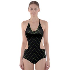 Diamond Green Triangle Line Black Chevron Wave Cut Out One Piece Swimsuit