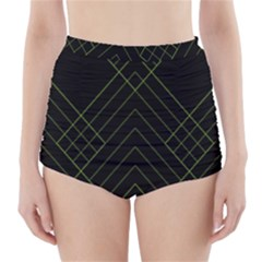 Diamond Green Triangle Line Black Chevron Wave High Waisted Bikini Bottoms