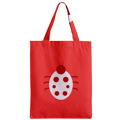 Little Butterfly Illustrations Beetle Red White Animals Zipper Classic Tote Bag