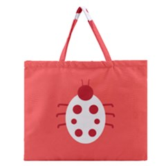 Little Butterfly Illustrations Beetle Red White Animals Zipper Large Tote Bag