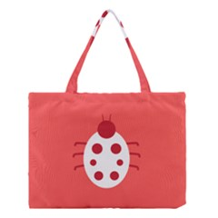 Little Butterfly Illustrations Beetle Red White Animals Medium Tote Bag
