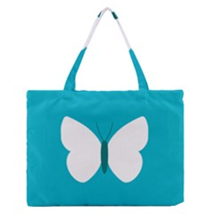 Little Butterfly Illustrations Animals Blue White Fly Medium Zipper Tote Bag by Alisyart