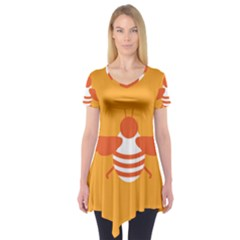 Littlebutterfly Illustrations Bee Wasp Animals Orange Honny Short Sleeve Tunic