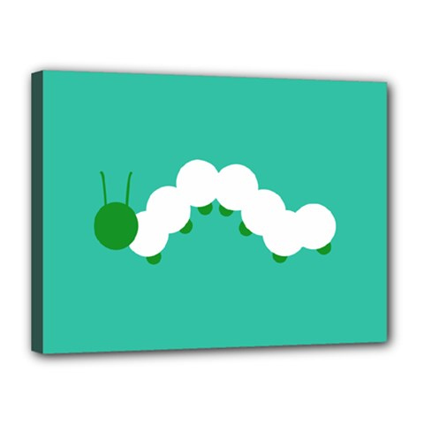 Little Butterfly Illustrations Caterpillar Green White Animals Canvas 16  X 12