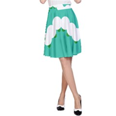 Little Butterfly Illustrations Caterpillar Green White Animals A Line Skirt