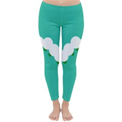 Little Butterfly Illustrations Caterpillar Green White Animals Classic Winter Leggings