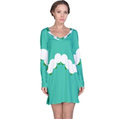 Little Butterfly Illustrations Caterpillar Green White Animals Long Sleeve Nightdress
