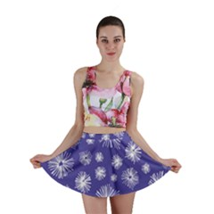 Aztec Lilac Love Lies Flower Blue Mini Skirt by Alisyart