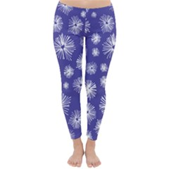 Aztec Lilac Love Lies Flower Blue Classic Winter Leggings