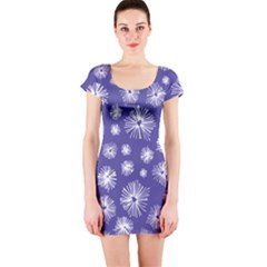 Aztec Lilac Love Lies Flower Blue Short Sleeve Bodycon Dress