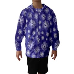 Aztec Lilac Love Lies Flower Blue Hooded Wind Breaker (kids)